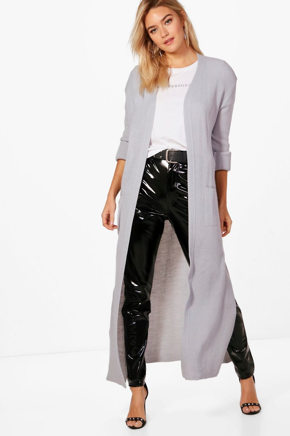 Alicia Turn Up Cuff Maxi Cardigan | Boohoo