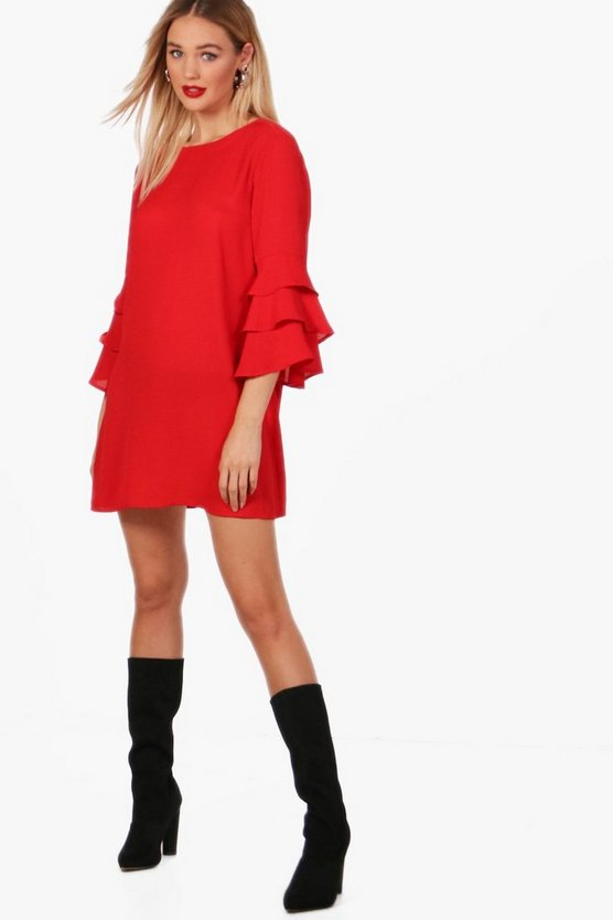 Tina Ruffle Sleeve Shift Dress