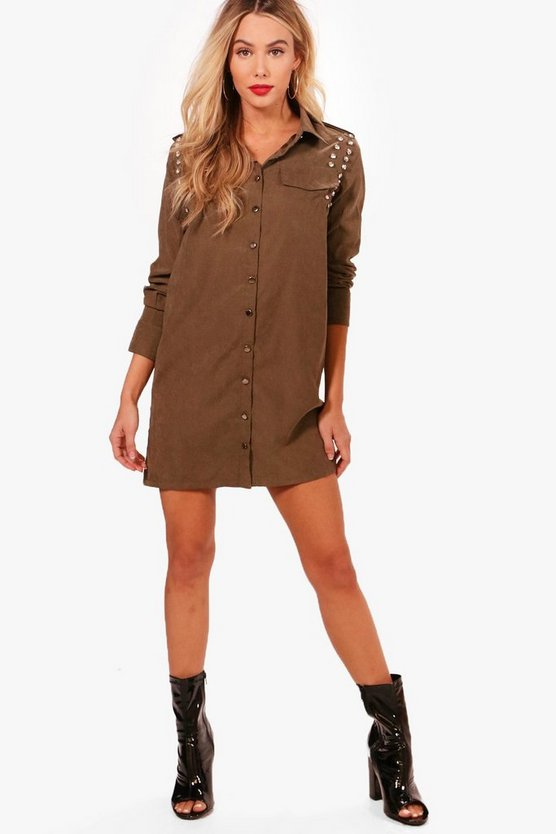 Layla Jewelled Shoulder Shirt Dress