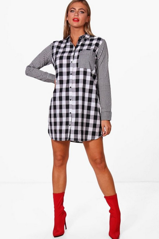 Mix & Match Print Gingham Shirt Dress