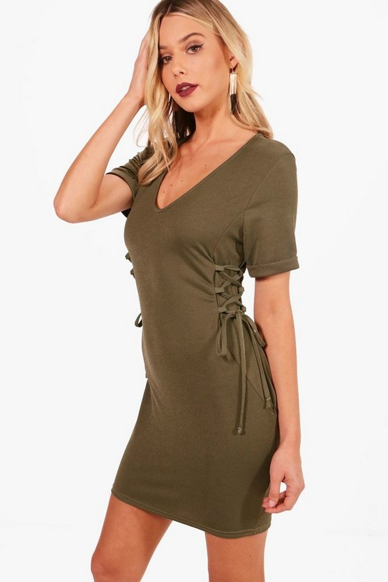 Lucie Lace Up Side Detail Shift Dress
