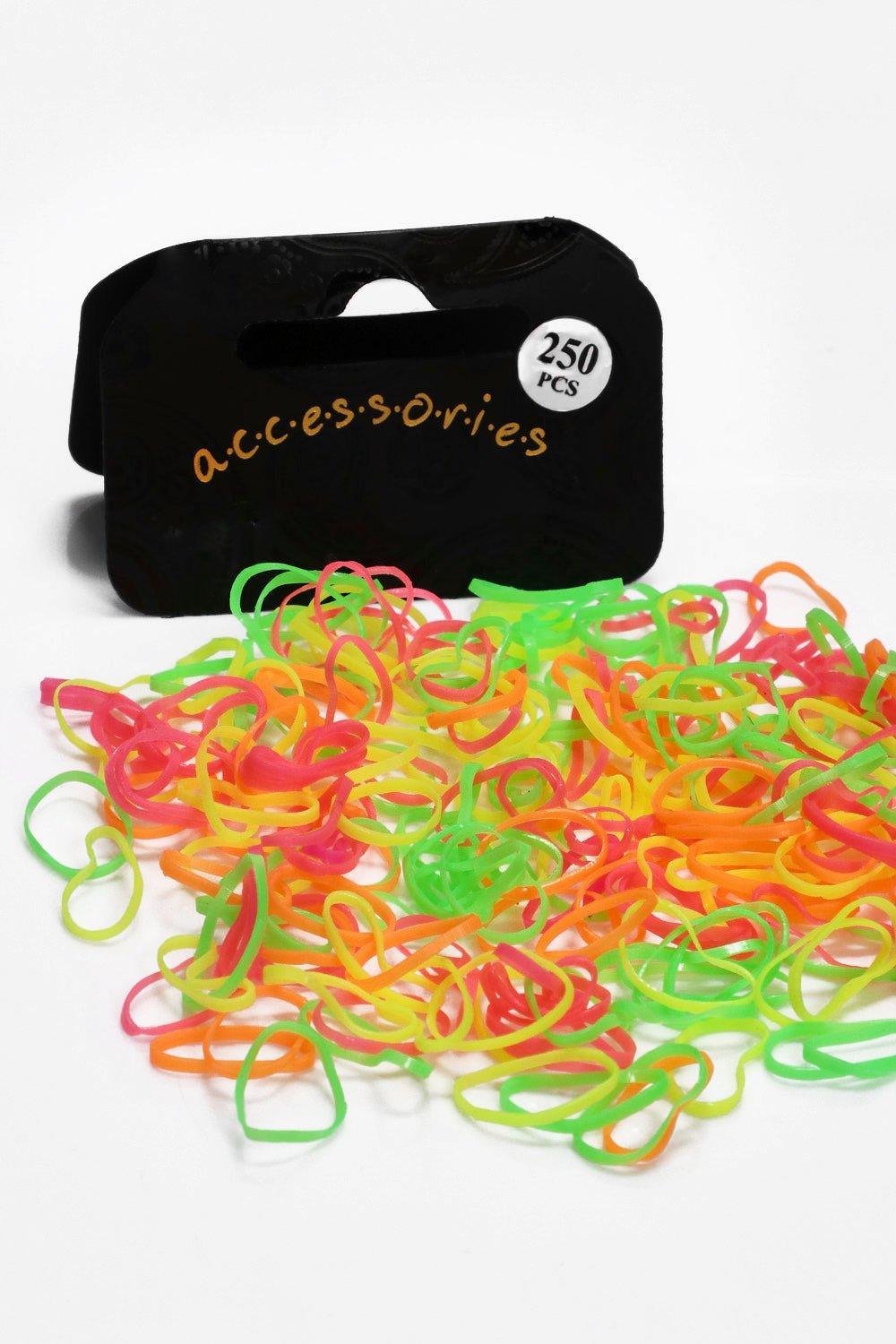 Multi Neon Coloured Mini Elastic Hair Bands - neon