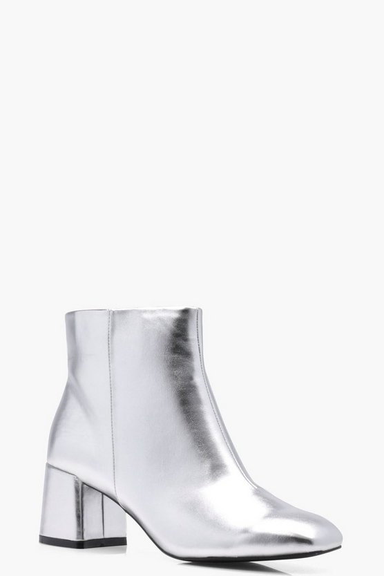 Daisy Metallic Block Heel Ankle Boot