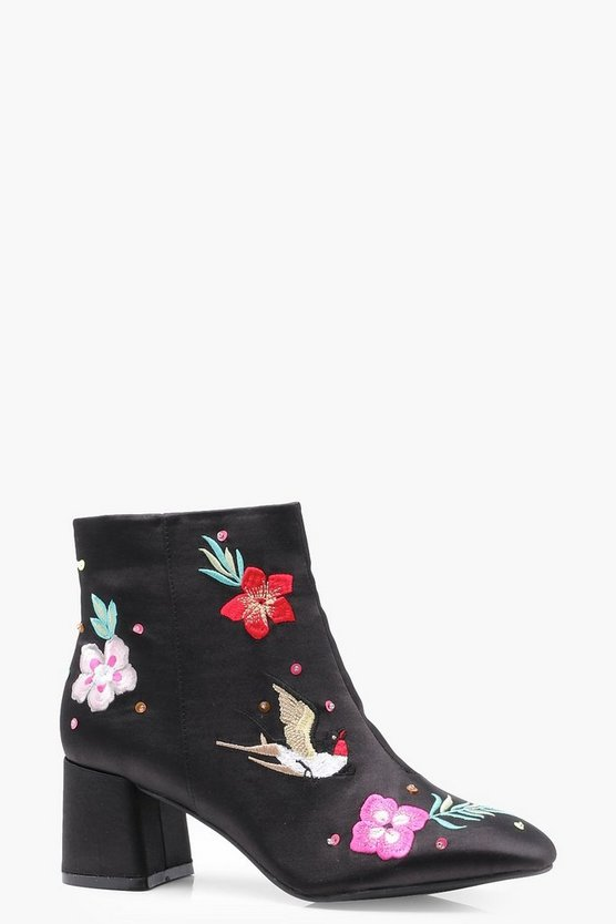 Oriental Embroidered Ankle Boots