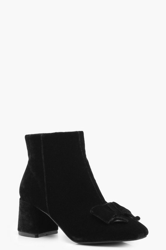 Sophia Velvet Bow Ankle Boot