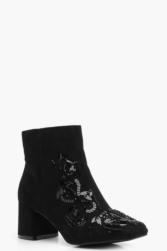 Embellished Beaded Ankle Boot
