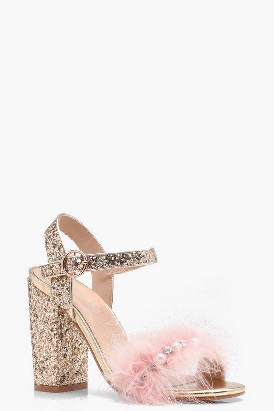 Ava Glitter and Feather Detail Heels