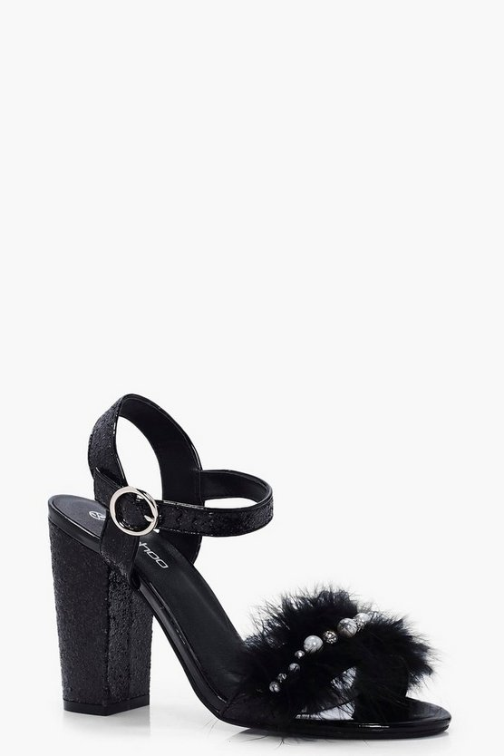 Grace Glitter and Feather Detail Heels