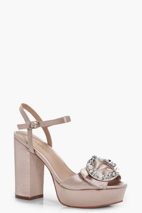 Ruby Brooch Detail Platform Heels