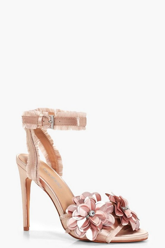 Embellished Satin 2 Part Heels