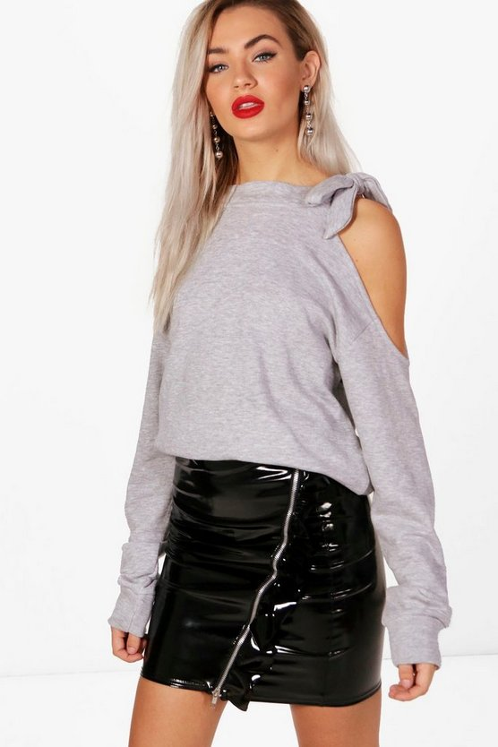 Tie Neck Cold Shoulder Sweatshirt
