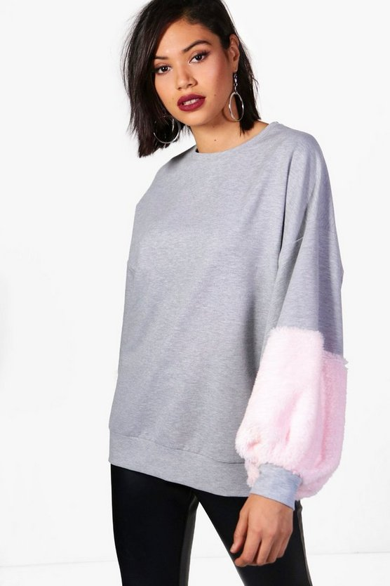 Faith Faux Fur Sleeve Balloon Sweat