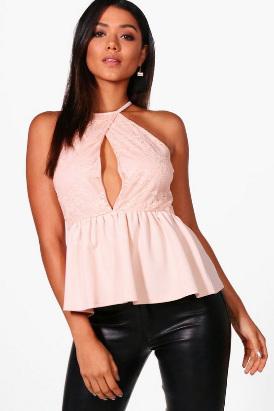 Phoebe Cut Out Wrap Lace Peplum
