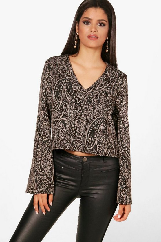Scarlett Jacquard Wide Sleeve Top