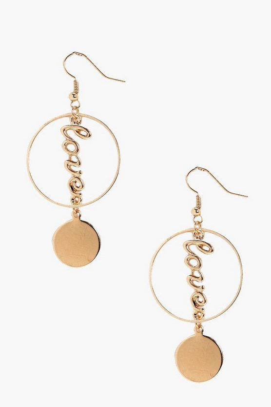 Tilly Love Slogan Hoop Coin Earrings