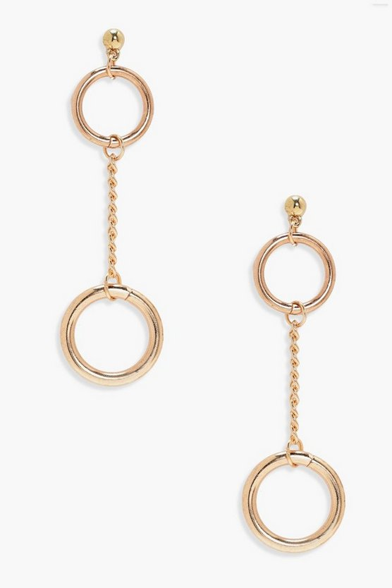Paige Double Circle And Chain Earrings