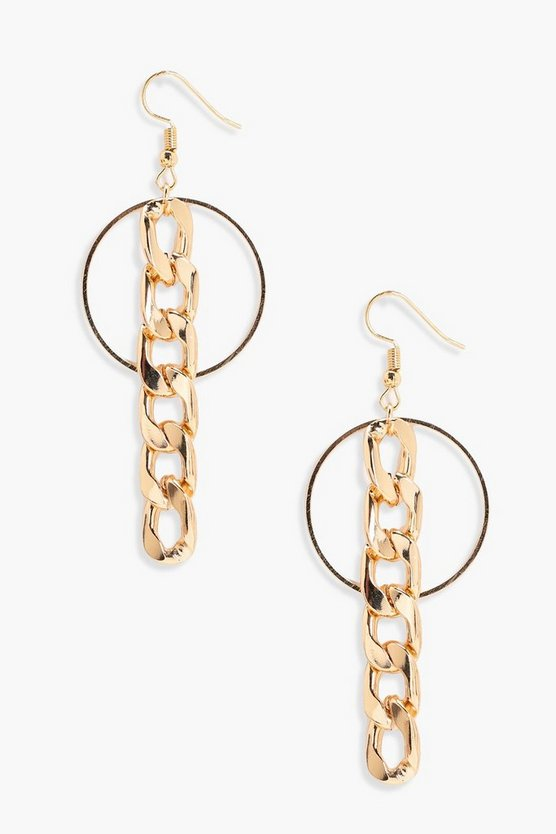 Lily Curb Chain Drop Hoop Earrings