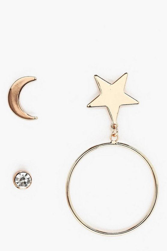 Star Hoop and Diamante Earrings