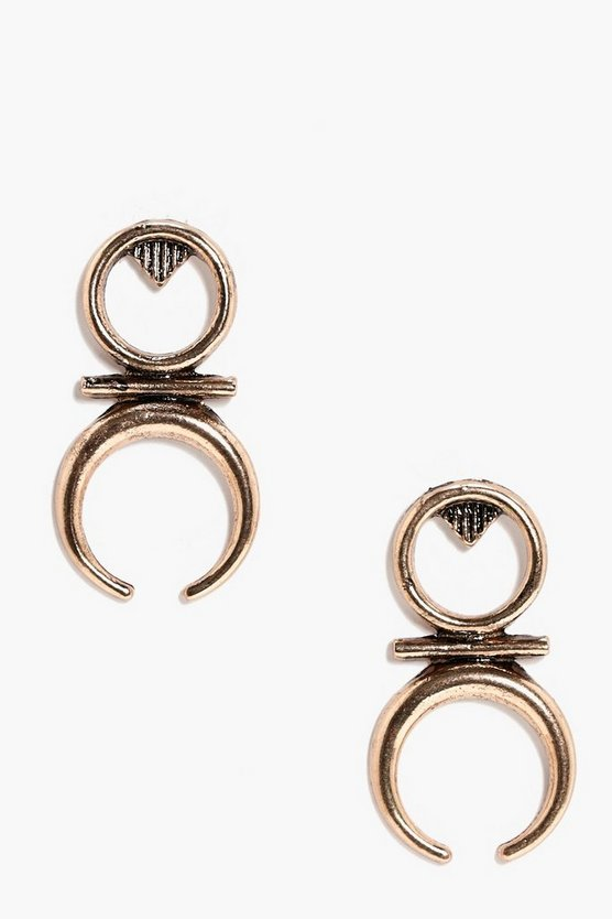 Sophia Circle Horn Earrings
