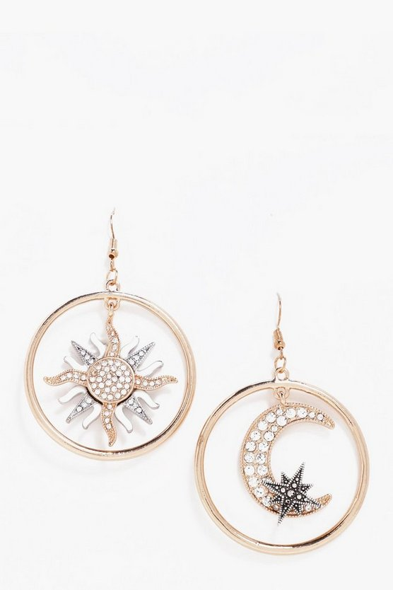Sarah Diamante Moon and Sun Earrings