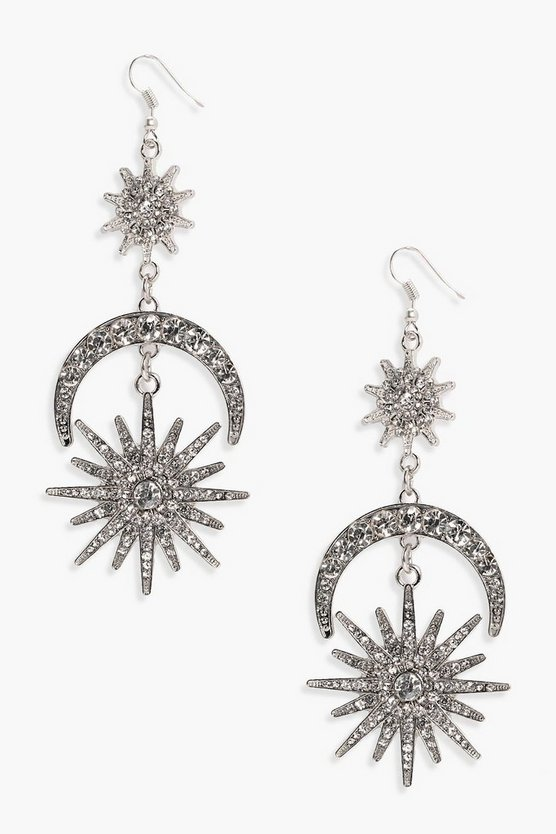 Jen Statement Diamante Sun Moon Earrings