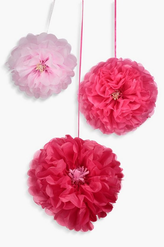 3 Pack Pink And Blush Flower Pom Poms