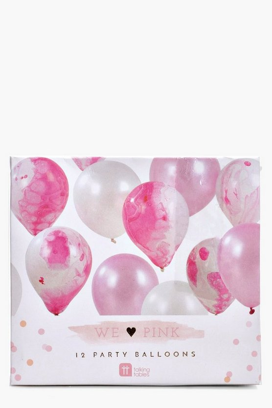Pink Marble Balloons 12 Pack
