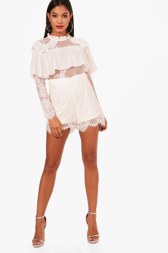 Frill Detail Lace Playsuit