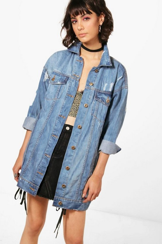 Zoe Oversized Distressed Denim Jacket