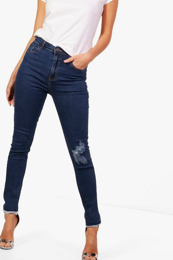 5 Pocket Raw Hem Skinny Jeans
