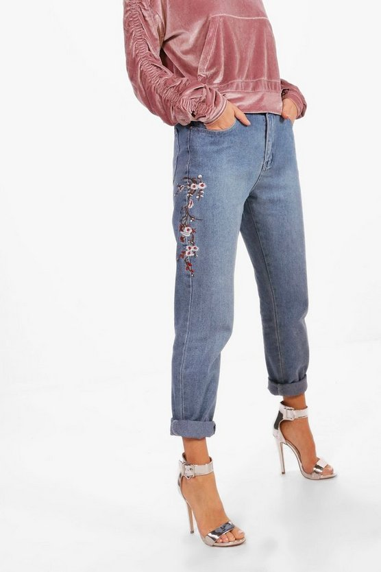 Blossom Embroidery Boyfriend Jeans