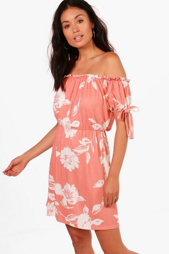 Emily Off Shoulder Tie Sleeve Shift Dress