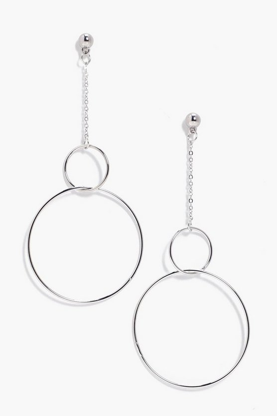 Mil Chain Drop Double Hoop Earrings