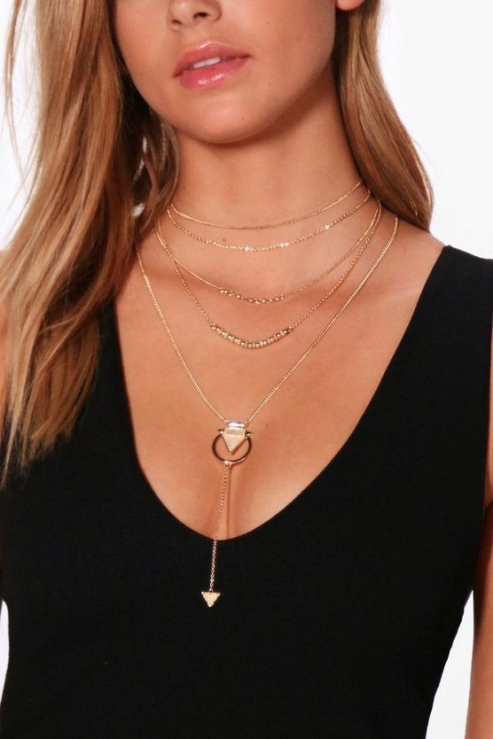 Becky Beaded Layered Triangle Plunge Necklace
