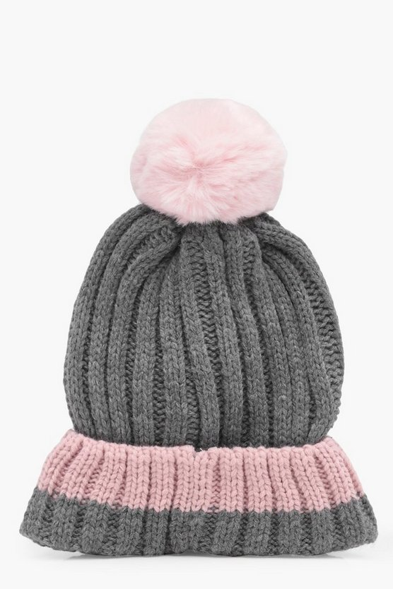 Amy Contrast Trim And Bobble Beanie