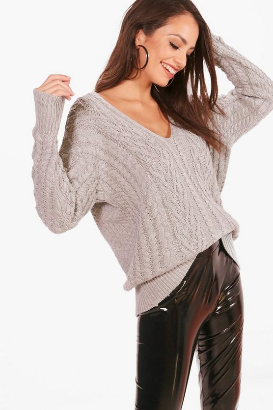 Tiffanie Cable Knit Plunge Neck Oversized Jumper