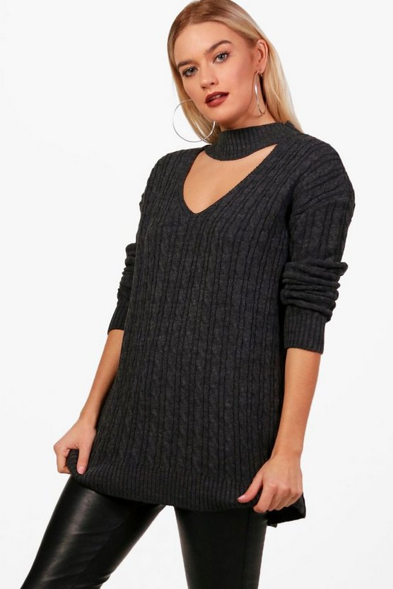 Jessica Cable Knit Choker Jumper