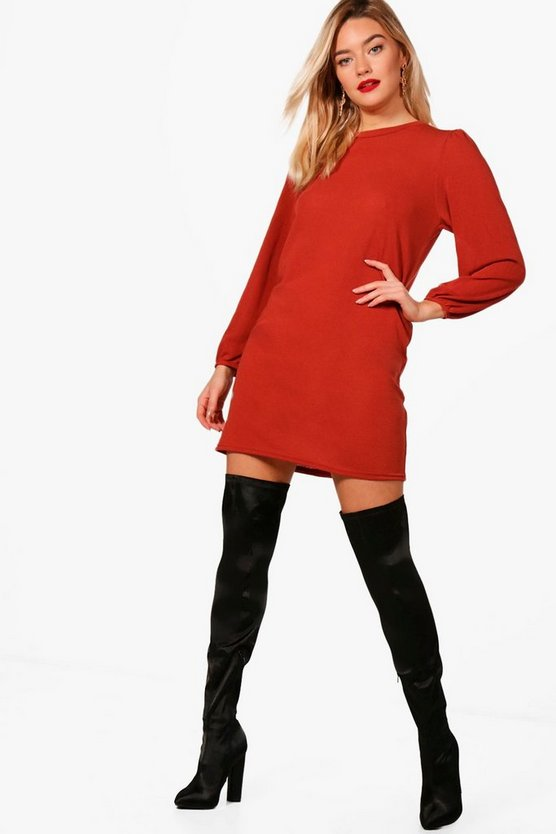 Balloon Sleeve Knitted Dress
