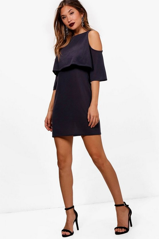 Phoebe Cold Shoulder Double Layer Knit Dress