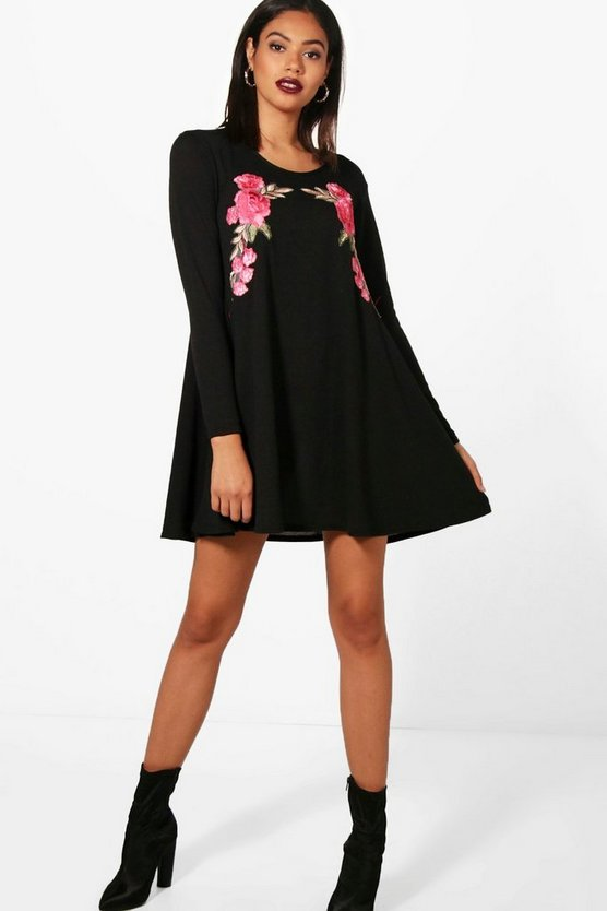Ellie Embroidered Knit Swing Dress