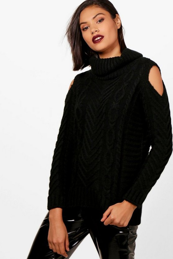 Harriet Cable Knit Cold Shoulder Jumper