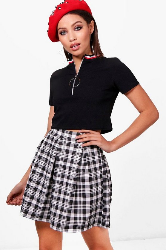 Jade Mono Check Box Pleat Skater Skirt