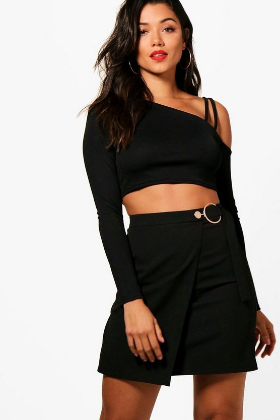 Wrap Front Woven O Ring Mini Skirt