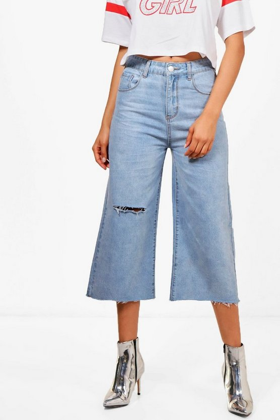 Nina High Waist Raw Hem Wide Leg Jeans