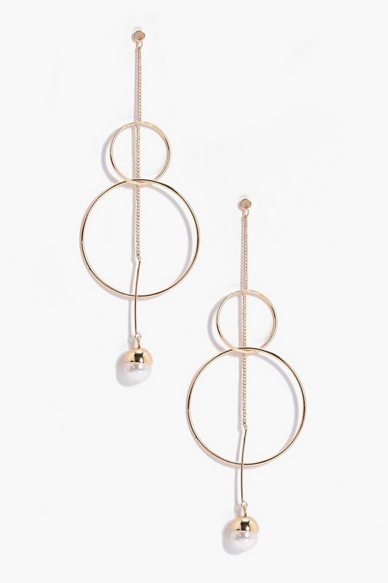 Leigh Circle Bar And Ball Drop Earrings
