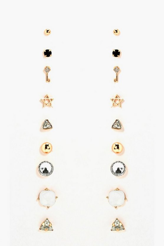 Emmy Key And Diamante Mixed Earring Stud 9pk