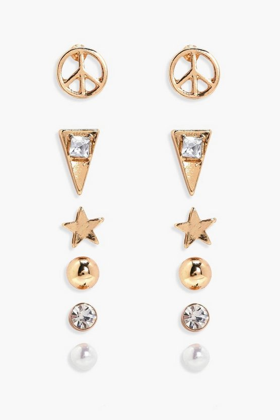 Anna Peace And Pearl Mixed Earring Stud 6pk