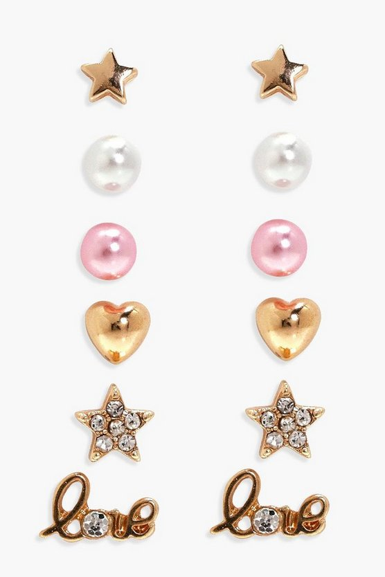 Sanaa Pearl And Love Mixed Earring Stud 6pk
