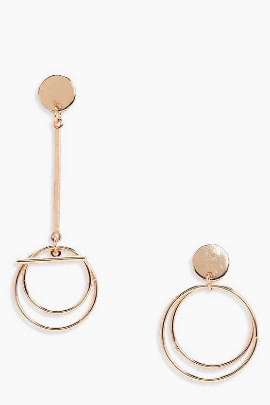 Raquel Mismatch Circle And Loop Earrings
