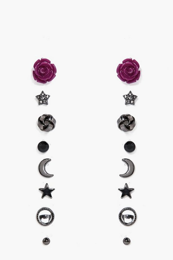 Ayla Rose And Star Mixed Earring Stud 8pk